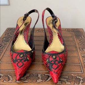 J Renee Red/Black Pointy Toes Slingback Shoes
